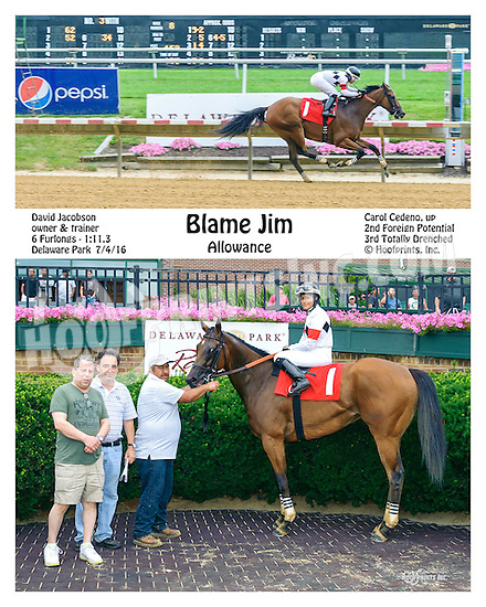 Blame Jim winning at Delaware Park on 7/4/16