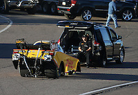 Feb. 22, 2013; Chandler, AZ, USA; NHRA funny car driver Del Worsham during qualifying for the Arizona Nationals at Firebird International Raceway. Mandatory Credit: Mark J. Rebilas-