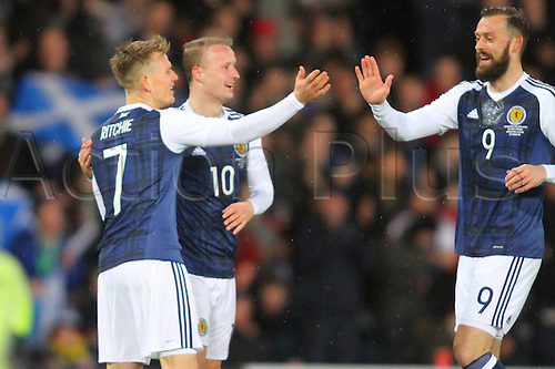 29.03.2016. Hampden Park, Glasgow, Scotland. International Football Friendly Scotland versus Denmark.  Matt Ritchie celebrates his goal with Leigh Griffiths and Steven Fletcher