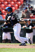 April 19, 2010:  Shortstop Ruben Tejada of the Buffalo Bisons at bat during a game at Coca-Cola Field in Buffalo, New York.  The Bisons are the Triple-A International League affiliate of the New York Mets.  Photo By Mike Janes/Four Seam Images
