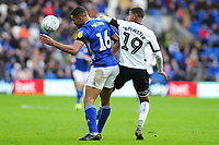 Curtis Nelson of Cardiff City battles with Rhian Brewster of Swansea City during the Sky Bet Championship match between Cardiff City and Swansea City at the Cardiff City Stadium in Cardiff, Wales, UK. Sunday 12 January 2020