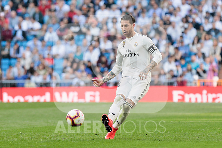Real Madrid's Sergio Ramos during La Liga match between Real Madrid and Real Club Celta de Vigo at Santiago Bernabeu Stadium in Madrid, Spain. March 16, 2019. (ALTERPHOTOS/A. Perez Meca)