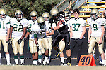 Palos Verdes, CA 10/30/09 - Austin Smith (#18) catches the ball for a short gain as Donta Bavis (MC# 5) pushes him out of bounds.  Mira Costa defeated Peninsula 42-19.