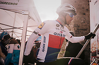 Zdenek Stybar (CZE/Quick-Step Floors) climbing the sign-on podium steps<br /> <br /> 50th GP Samyn 2018<br /> Quaregnon &gt; Dour: 200km (BELGIUM)