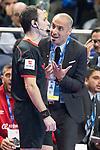 Palma Futsal coach Antonio Vadillo Sanchez talking with the referee during Futsal Spanish Cup 2018 at Wizink Center in Madrid , Spain. March 15, 2018. (ALTERPHOTOS/Borja B.Hojas)