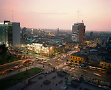 PERU, Lima, South America, Latin America, high angle view of crowded city of Lima at dusk.