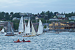 Race to Alaska, human powered, wind powered, all class, boat race, Port Townsend to Ketchikan, first leg, racers depart Port Townsend for Victoria, British Columbia,  June 4, 2015, Strait of Juan de Fuca, endurance racing,