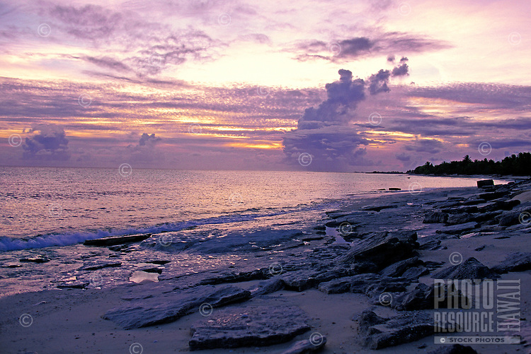 Beautiful beach scene on the bikini atoll, Marshall Islands