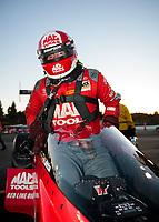 Nov 17, 2019; Pomona, CA, USA; NHRA top fuel driver Doug Kalitta after winning the Auto Club Finals at Auto Club Raceway at Pomona. Mandatory Credit: Mark J. Rebilas-USA TODAY Sports