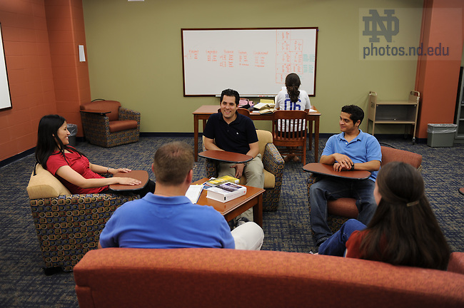 Grad students in the Hesburgh Library grad student lounge