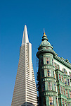 California: San Francisco, North Beach. Historic Zoetrope Building with Transamerica Pyramid in backgrond. Photo #: san-francisco-north-beach-18-casanf79216. Photo copyright Lee Foster.