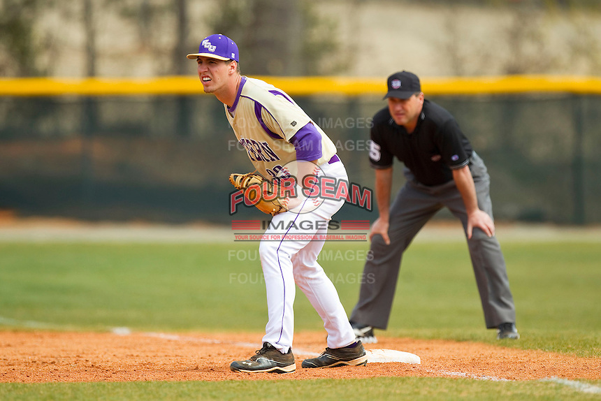 Western Carolina Catamounts first baseman Austin Neary (33) on defense against the Davidson Wildcats at Wilson Field on March 10, 2013 in Davidson, North Carolina.  The Catamounts defeated the Wildcats 5-2.  (Brian Westerholt/Four Seam Images)