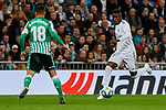 Vinicius Junior of Real Madrid and Andres Guardado of Real Betis Balompie during La Liga match between Real Madrid and Real Betis Balompie at Santiago Bernabeu Stadium in Madrid, Spain. November 02, 2019. (ALTERPHOTOS/A. Perez Meca)
