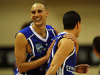 Saints guard Lindsay Tait celebrates the victory with Luke Martin during the NBL Round 14 basketball match between the Wellington Saints and Auckland Stars at TSB Bank Arena, Wellington, New Zealand on Thursday 29 May 2008. Photo: Dave Lintott / lintottphoto.co.nz
