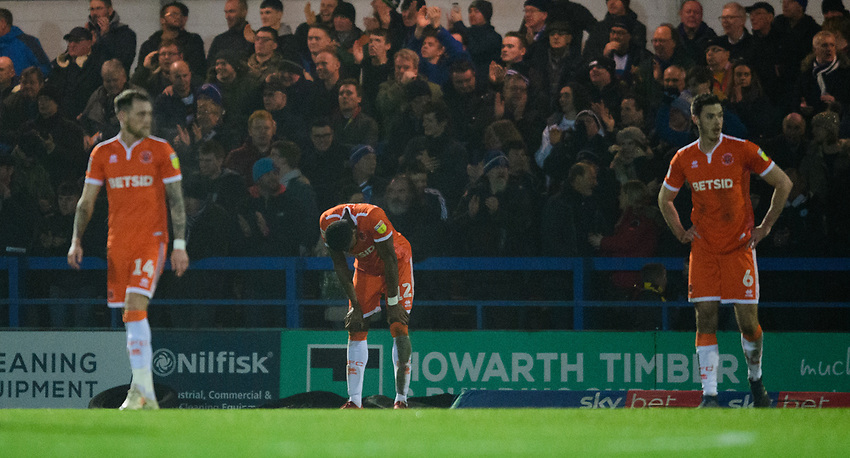 Blackpool's Michael Nottingham reacts after Rochdale's second goal, scored by Rochdale's Ian Henderson<br /> <br /> Photographer Chris Vaughan/CameraSport<br /> <br /> The EFL Sky Bet League One - Rochdale v Blackpool - Wednesday 26th December 2018 - Spotland Stadium - Rochdale<br /> <br /> World Copyright © 2018 CameraSport. All rights reserved. 43 Linden Ave. Countesthorpe. Leicester. England. LE8 5PG - Tel: +44 (0) 116 277 4147 - admin@camerasport.com - www.camerasport.com