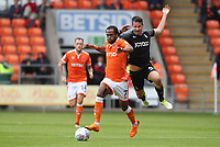 Blackpool's Nathan Delfouneso and Bradford City's Ryan McGowan<br /> <br /> Photographer Rachel Holborn/CameraSport<br /> <br /> The EFL Sky Bet League One - Blackpool v Bradford City - Saturday September 8th 2018 - Bloomfield Road - Blackpool<br /> <br /> World Copyright &copy; 2018 CameraSport. All rights reserved. 43 Linden Ave. Countesthorpe. Leicester. England. LE8 5PG - Tel: +44 (0) 116 277 4147 - admin@camerasport.com - www.camerasport.com
