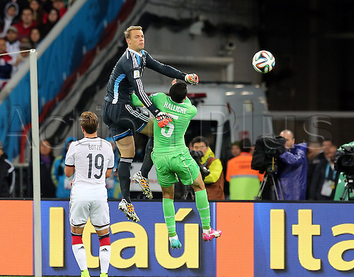 30.06.2014. Porto Alegre, Brazil. World Cup 2nd Round. Germany versus Algeria. Neuer clears the ball against Halliche