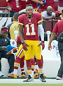 Washington Redskins wide receiver DeSean Jackson (11) watches the game action from the sideline during first quarter action against the Dallas Cowboys at FedEx Field in Landover, Maryland on Sunday, September 18, 2016.<br /> Credit: Ron Sachs / CNP