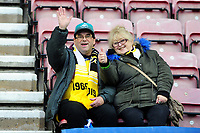 Swansea City fans in action during the Sky Bet Championship match between Wigan Athletic and Swansea City at The DW Stadium in Wigan, England, UK. Saturday 2 November 2019
