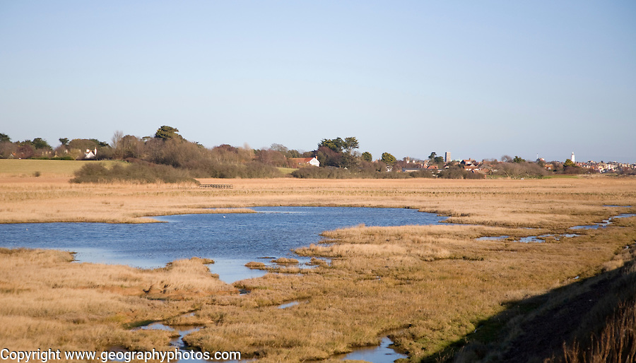 Freshwater marshes behind shingle bay bar at Walberswick, Suffolk, England