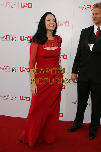 SONIA BRAGA.35th AFI Life Achievement Award Honoring Al Pacino held at the Kodak Theatre, Hollywood, California, USA..June 7th, 2007.full length sheer dress red .CAP/ADM/RE.©Russ Elliot/AdMedia/Capital Pictures