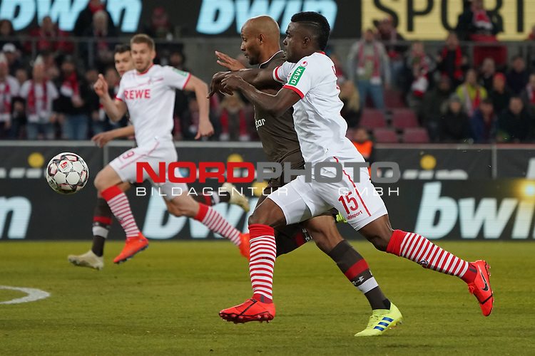 08.02.2019, RheinEnergieStadion, Koeln, GER, 2. FBL, 1.FC Koeln vs. FC St. Pauli,<br />  <br /> DFL regulations prohibit any use of photographs as image sequences and/or quasi-video<br /> <br /> im Bild / picture shows: <br /> Christopher Avevor (St Pauli #6), im Zweikampf gegen  Jhon C&oacute;rdoba (FC Koeln #15),   <br /> <br /> Foto &copy; nordphoto / Meuter