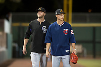 Salt River Rafters pitchers Mitch Horacek (32) and Griffin Jax (22) during an Arizona Fall League game against the Scottsdale Scorpions at Scottsdale Stadium on October 12, 2018 in Scottsdale, Arizona. Scottsdale defeated Salt River 6-2. (Zachary Lucy/Four Seam Images)