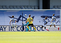 18th July 2020; The Kiyan Prince Foundation Stadium, London, England; English Championship Football, Matt Smith of Millwall shoots and scores his sides 1st goal in the 48th minute to make it 1-1