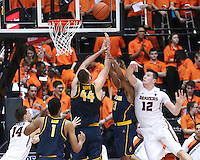 CORVALLIS, OR - January 21, 2017: Cal Bears Men's Basketball team vs. the Oregon State Beavers at Gill Coliseum. Final score, Cal Bears 69, Oregon Beavers 58.
