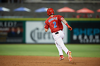 Clearwater Threshers center fielder Mickey Moniak (2) runs the bases during a game against the Jupiter Hammerheads on April 12, 2018 at Spectrum Field in Clearwater, Florida.  Jupiter defeated Clearwater 8-4.  (Mike Janes/Four Seam Images)