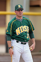 North Dakota State Bison head coach Tod Brown #21 during practice before a game against the Pennsylvania Quakers at Henley Field on March 11, 2012 in Lakeland, Florida.  North Dakota State defeated Pennsylvania 15-3.  (Mike Janes/Four Seam Images)