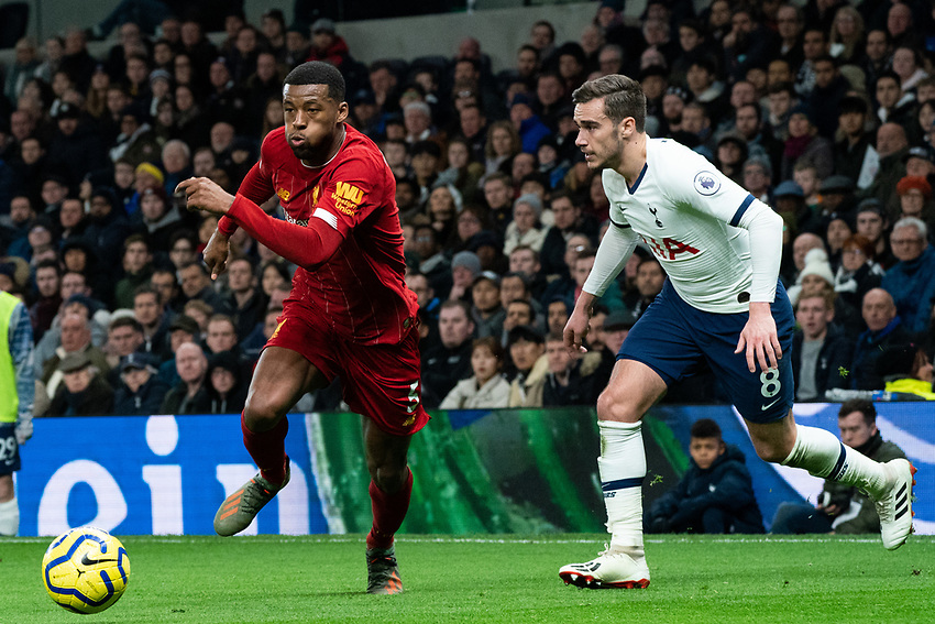Liverpool's Georginio Wijnaldum battles for possession with Tottenham's Harry Winks <br /> <br /> Photographer Stephanie Meek/CameraSport<br /> <br /> The Premier League - Tottenham Hotspur v Liverpool - Saturday 11th January 2020 - Tottenham Hotspur Stadium - London<br /> <br /> World Copyright © 2020 CameraSport. All rights reserved. 43 Linden Ave. Countesthorpe. Leicester. England. LE8 5PG - Tel: +44 (0) 116 277 4147 - admin@camerasport.com - www.camerasport.com