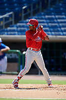 Philadelphia Phillies shortstop Luis Garcia (5) at bat during a Florida Instructional League game against the Toronto Blue Jays on September 24, 2018 at Spectrum Field in Clearwater, Florida.  (Mike Janes/Four Seam Images)
