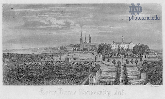 GNDL 6/16:  Engraving of the first Sacred Heart Church and first Main Building, c1860..Image from the University of Notre Dame Archives.