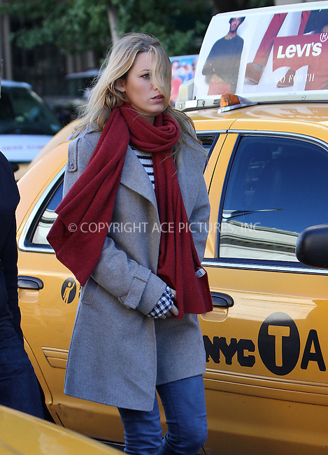 WWW.ACEPIXS.COM....October 11 2012, New York City....Actress Blake Lively on the set of the TV show 'Gossip Girl' on October 11 2012 in New York City......By Line: Zelig Shaul/ACE Pictures......ACE Pictures, Inc...tel: 646 769 0430..Email: info@acepixs.com..www.acepixs.com