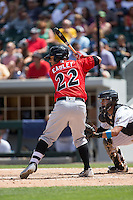 Ed Easley (22) of the Indianapolis Indians at bat against the Charlotte Knights at BB&T BallPark on June 19, 2016 in Charlotte, North Carolina.  The Indians defeated the Knights 6-3.  (Brian Westerholt/Four Seam Images)