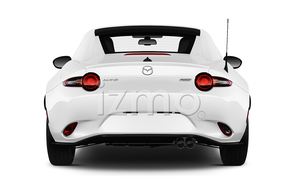 Straight rear view of a 2019 Mazda MX-5 RF Club 2 Door Convertible stock images