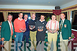 The overall winners of the the Charlie Chaplin Am-Am were Jack Fitzpatrick's Team pictured here l-r; Representing the Chaplin family Mr Vincent O'Sullivan President WGC, Chris Casey, Eamon English Am-Am committee, Richard Murphy, Andrew Cooke, Jack Fitzpatrick & Aidan McAuliffe Captain Waterville Golf Club.