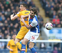 Blackburn Rovers' Charlie Mulgrew and Preston North End's Jordan Hugill<br /> <br /> Photographer Stephen White/CameraSport<br /> <br /> The EFL Sky Bet Championship - Blackburn Rovers v Preston North End - Saturday 18th March 2017 - Ewood Park - Blackburn<br /> <br /> World Copyright &copy; 2017 CameraSport. All rights reserved. 43 Linden Ave. Countesthorpe. Leicester. England. LE8 5PG - Tel: +44 (0) 116 277 4147 - admin@camerasport.com - www.camerasport.com