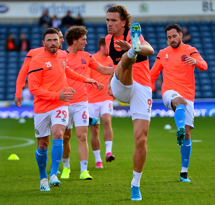 Blackburn Rovers' Sam Gallagher warms up with his team-mates<br /> <br /> Photographer Richard Martin-Roberts/CameraSport<br /> <br /> The Carabao Cup First Round - Tuesday 13th August 2019 - Blackburn Rovers v Oldham Athletic - Ewood Park - Blackburn<br />  <br /> World Copyright © 2019 CameraSport. All rights reserved. 43 Linden Ave. Countesthorpe. Leicester. England. LE8 5PG - Tel: +44 (0) 116 277 4147 - admin@camerasport.com - www.camerasport.com