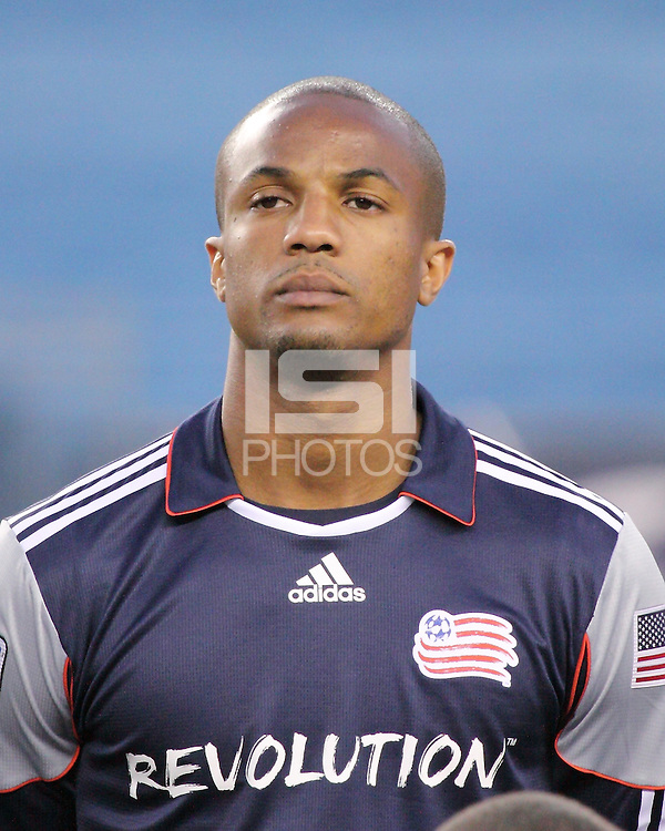 New England Revolution defender Darrius Barnes (25).  The Colorado Rapids defeated the New England Revolution, 2-1, at Gillette Stadium on April 24.2010