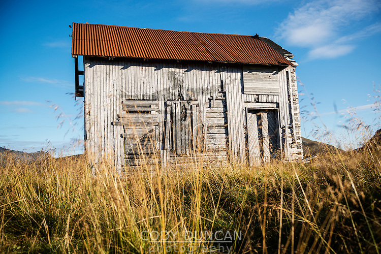 Abandoned barn featuring Pøbel street art, Borgvåg, Lofoten islands, Norway