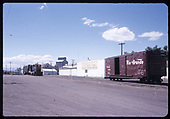 Distant view of D&amp;RGW GP9 #5953 switching at Monte Vista.  &quot;Downtown, engine coming fro Coors Barley&quot;.<br /> D&amp;RGW  Monte Vista, CO  Taken by Berkstresser, George - 6/1973