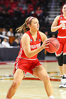 College Park, MD - March 23, 2019: Radford Highlanders guard Jen Falconer (5) passes the ball during game between Radford and Maryland at  Xfinity Center in College Park, MD.  (Photo by Elliott Brown/Media Images International)