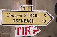 Europe/France/Alsace/68/Haut-Rhin/Gueberschwihr : Signalisation routière, Stand de tir au couvent