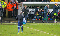 Adebayo Akinfenwa of Wycombe Wanderers is sent off after receiving a 2nd yellow card during the Sky Bet League 2 match between Notts County and Wycombe Wanderers at Meadow Lane, Nottingham, England on 10 December 2016. Photo by Andy Rowland / PRiME Media Images.