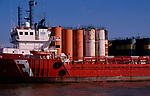 A728R5 Ship and chemicals storage tanks Great Yarmouth Norfolk England