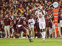 Blacksburg, VA - September 30, 2017: Clemson Tigers wide receiver Deon Cain (8) catches the ball during the game between Clemson and VA Tech at  Lane Stadium in Blacksburg, VA.   (Photo by Elliott Brown/Media Images International)