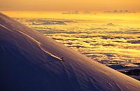 Skiing down Mauna Kea