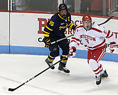Jared Kolquist (Merrimack - 15), Kieffer Bellows (BU - 9) - The visiting Merrimack College Warriors defeated the Boston University Terriers 4-1 to complete a regular season sweep on Friday, January 27, 2017, at Agganis Arena in Boston, Massachusetts.The visiting Merrimack College Warriors defeated the Boston University Terriers 4-1 to complete a regular season sweep on Friday, January 27, 2017, at Agganis Arena in Boston, Massachusetts.